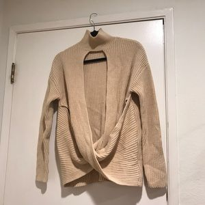 Nastygal nude wrap style sweater with open front